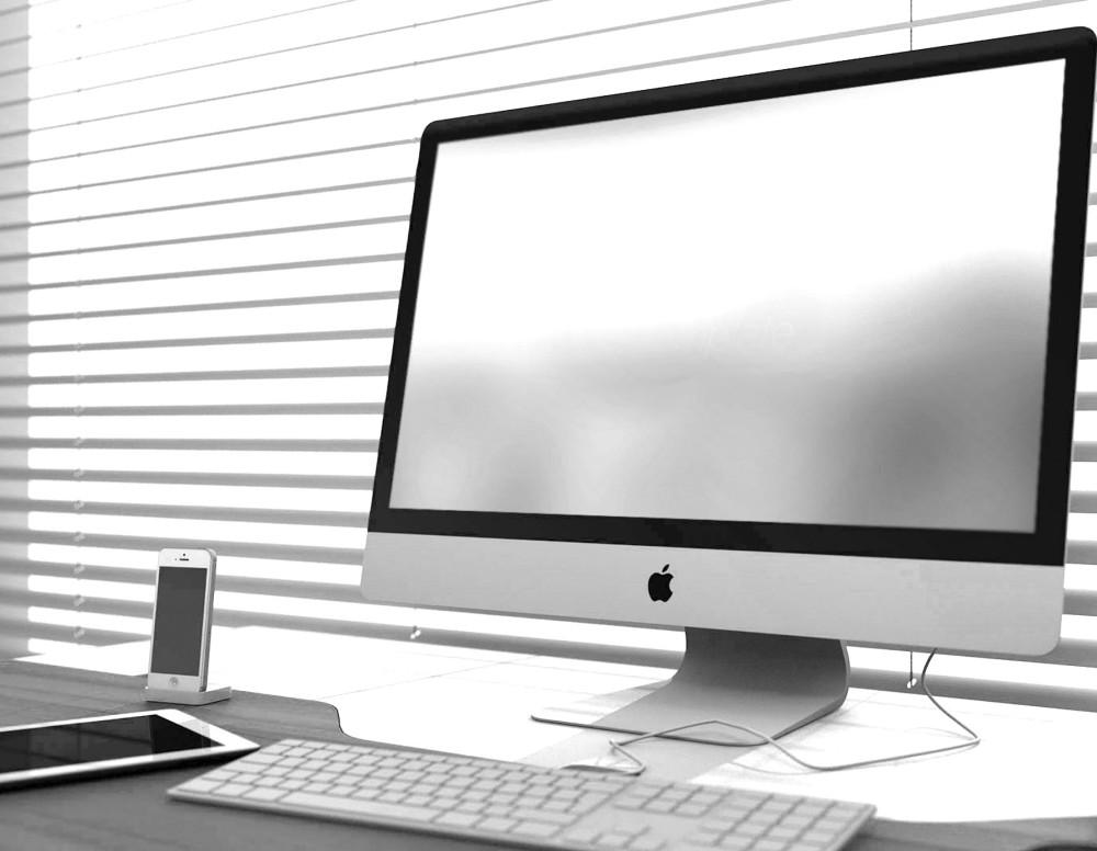 Apple imac screen on desk